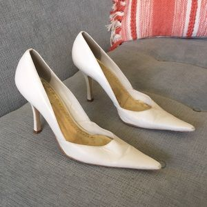 BCBGirls White Leather Pointed Toe Heels